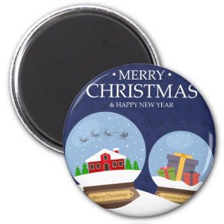Merry Christmas and Happy New Year Snow Globe 6 Cm Round Magnet