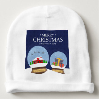 Merry Christmas and Happy New Year Snow Globe Baby Beanie