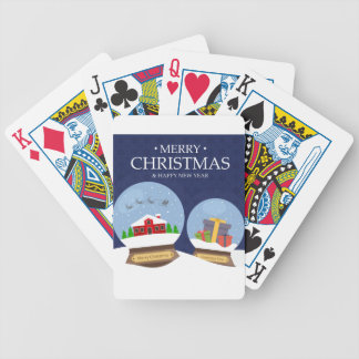 Merry Christmas and Happy New Year Snow Globe Bicycle Playing Cards