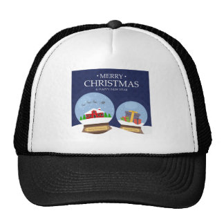 Merry Christmas and Happy New Year Snow Globe Cap