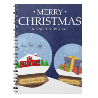 Merry Christmas and Happy New Year Snow Globe Notebook