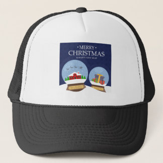 Merry Christmas and Happy New Year Snow Globe Trucker Hat