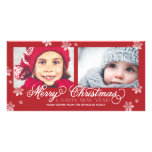 Merry Christmas and Happy New Year Snowflakes Customised Photo Card
