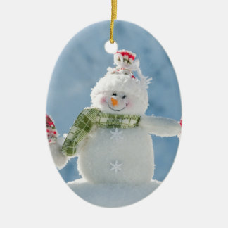 Merry Christmas and Happy New Year Snowmen Ceramic Oval Decoration
