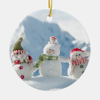 Merry Christmas and Happy New Year Snowmen Christmas Ornament