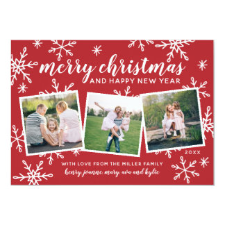 Merry Christmas and Happy New Year Snowy Snapshots Card