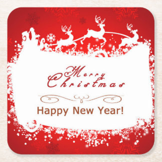 merry christmas and happy new year square paper coaster