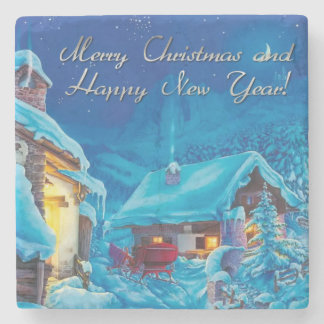 merry christmas and happy new year stone coaster