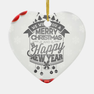 Merry Christmas and Happy New Year typography. Ceramic Ornament