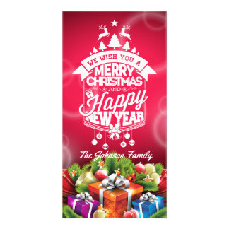 Merry Christmas and Happy New Year typography. Customised Photo Card