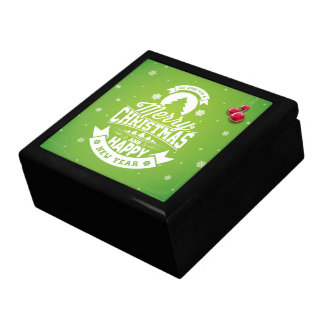 Merry Christmas and Happy New Year typography. Gift Box
