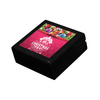 Merry Christmas and Happy New Year typography Gift Box