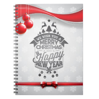 Merry Christmas and Happy New Year typography. Notebook