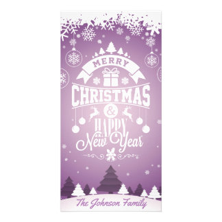 Merry Christmas and Happy New Year typography. Personalised Photo Card