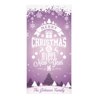 Merry Christmas and Happy New Year typography. Personalized Photo Card