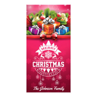 Merry Christmas and Happy New Year typography Photo Card