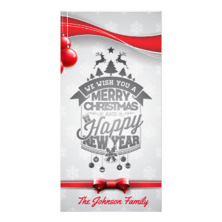 Merry Christmas and Happy New Year typography. Photo Greeting Card
