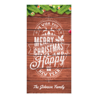 Merry Christmas and Happy New Year typography. Picture Card