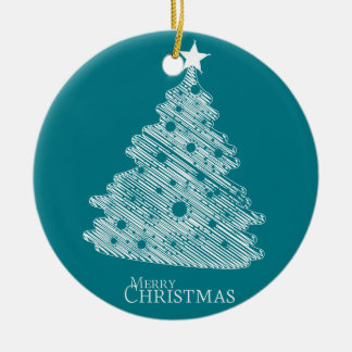 merry christmas and happy newyear round ceramic decoration
