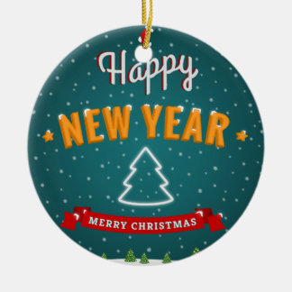 Merry Christmas and New Year greetings Christmas Tree Ornaments