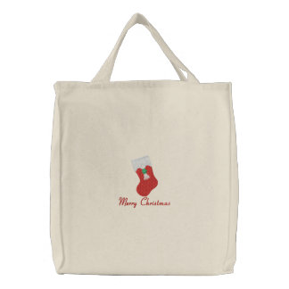 Merry Christmas and stocking embroidered tote bag