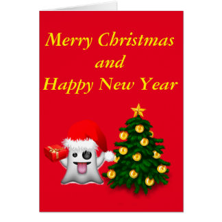 Merry Christmas and to happy New Year Greeting Card