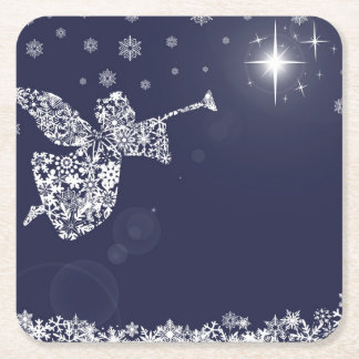 Merry Christmas Angel Blowing Trumpet Silhouette Square Paper Coaster