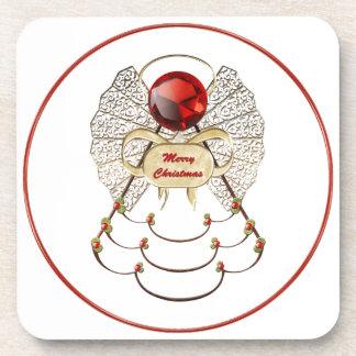 Merry Christmas Angel Cork Coaster