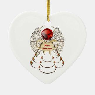 Merry Christmas Angel Ornament - Heart