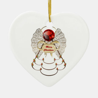 Merry Christmas Angel Ornament - Heart