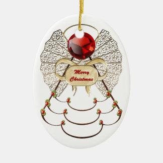 Merry Christmas Angel Ornament - Oval