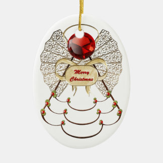 Merry Christmas Angel Ornament - Oval