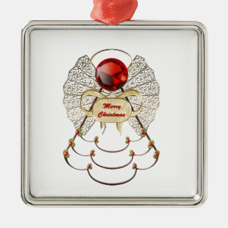 Merry Christmas Angel Ornament - Square