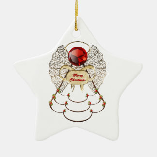 Merry Christmas Angel Ornament - Star