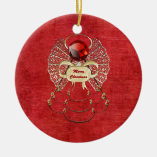 Merry Christmas Angel - Red Round Ceramic Decoration