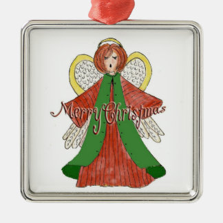 Merry Christmas Angel Silver-Colored Square Decoration
