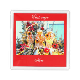 merry christmas angels trumpeting acrylic tray