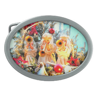 merry christmas angels trumpeting belt buckles