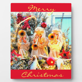 merry christmas angels trumpeting plaque