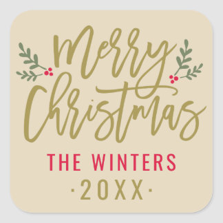 Merry Christmas | Antique Gold Script Square Sticker