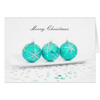 Merry Christmas Aqua Colored Ornaments Greeting Card