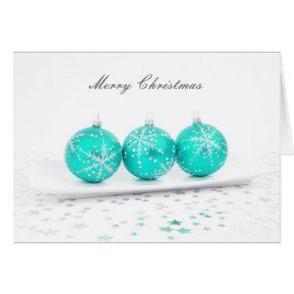 Merry Christmas Aqua Colored Ornaments Greeting Card