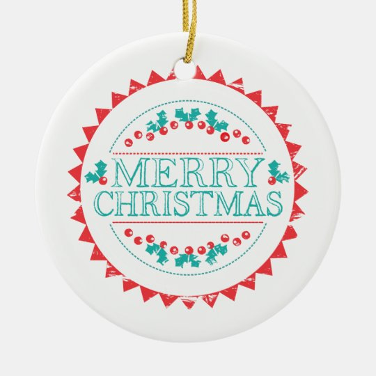 Merry Christmas Aqua & Red Chalk Stamp Typography Ceramic Ornament