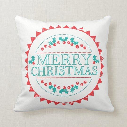 Merry Christmas Aqua & Red Chalk Stamp Typography Cushion