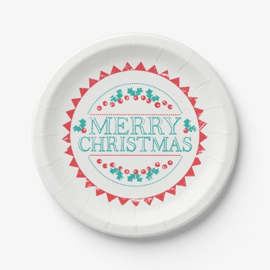 Merry Christmas Aqua & Red Chalk Stamp Typography Paper Plate