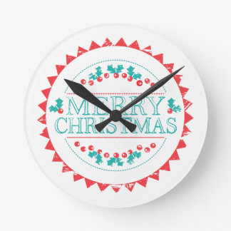 Merry Christmas Aqua & Red Chalk Stamp Typography Round Clock