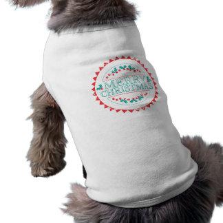 Merry Christmas Aqua & Red Chalk Stamp Typography Shirt