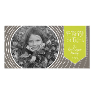 Merry Christmas - Art Deco with One Picture Customized Photo Card