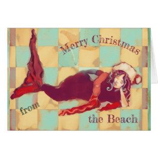 Merry Christmas Artsy Beach Mermaid Santa Card