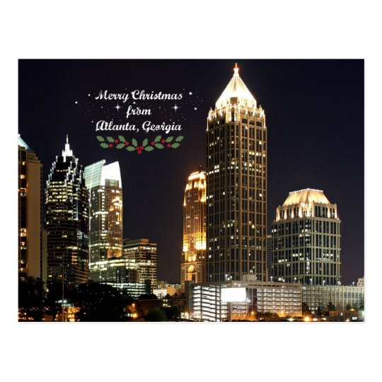 """Merry Christmas,"" Atlanta, Georgia Skyline Postcard"